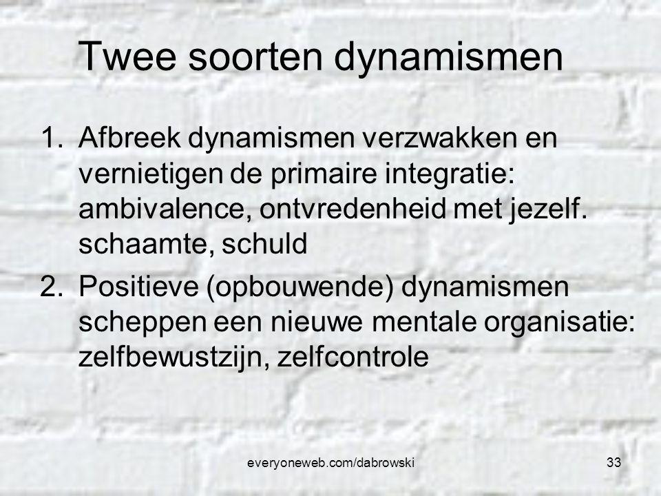 everyoneweb.com/dabrowski33 Twee soorten dynamismen 1.Afbreek dynamismen verzwakken en vernietigen de primaire integratie: ambivalence, ontvredenheid