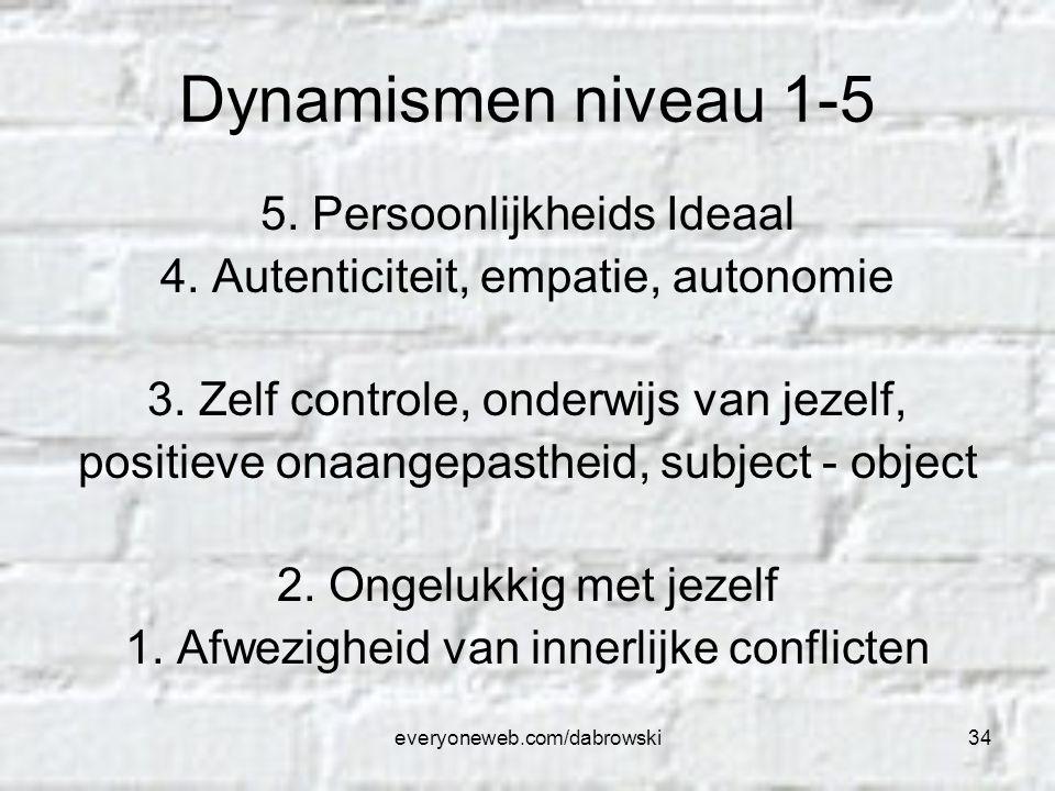 everyoneweb.com/dabrowski34 Dynamismen niveau 1-5 5. Persoonlijkheids Ideaal 4. Autenticiteit, empatie, autonomie 3. Zelf controle, onderwijs van jeze
