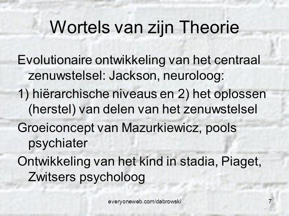 everyoneweb.com/dabrowski7 Wortels van zijn Theorie Evolutionaire ontwikkeling van het centraal zenuwstelsel: Jackson, neuroloog: 1) hiërarchische niv