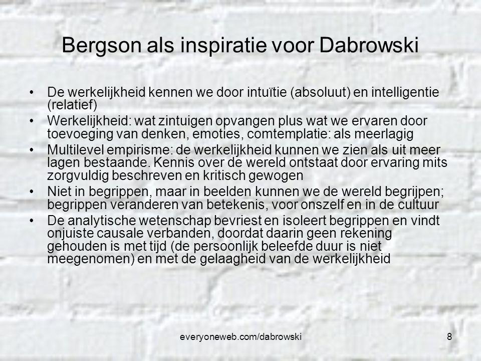 everyoneweb.com/dabrowski8 Bergson als inspiratie voor Dabrowski De werkelijkheid kennen we door intuïtie (absoluut) en intelligentie (relatief) Werke