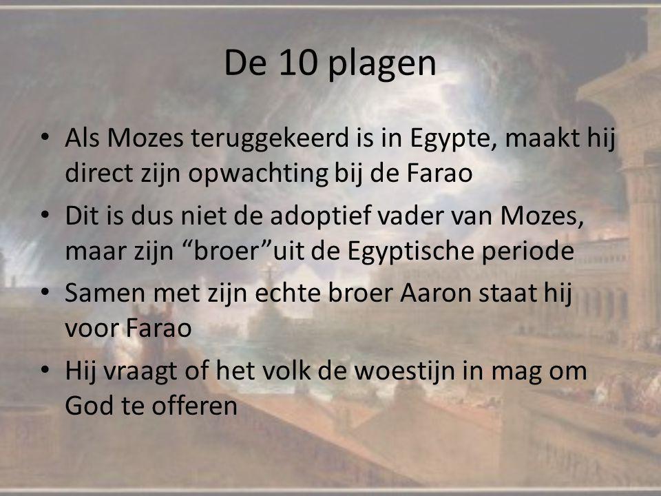 """Als Mozes teruggekeerd is in Egypte, maakt hij direct zijn opwachting bij de Farao Dit is dus niet de adoptief vader van Mozes, maar zijn """"broer""""uit d"""