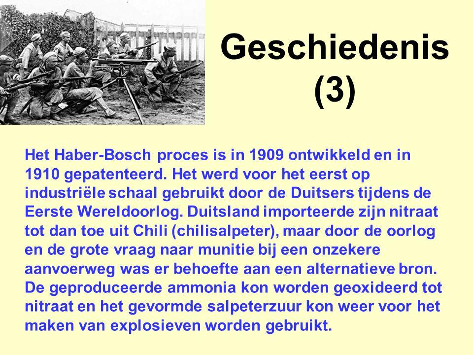 Het Haber-Bosch proces is in 1909 ontwikkeld en in 1910 gepatenteerd. Het werd voor het eerst op industriële schaal gebruikt door de Duitsers tijdens