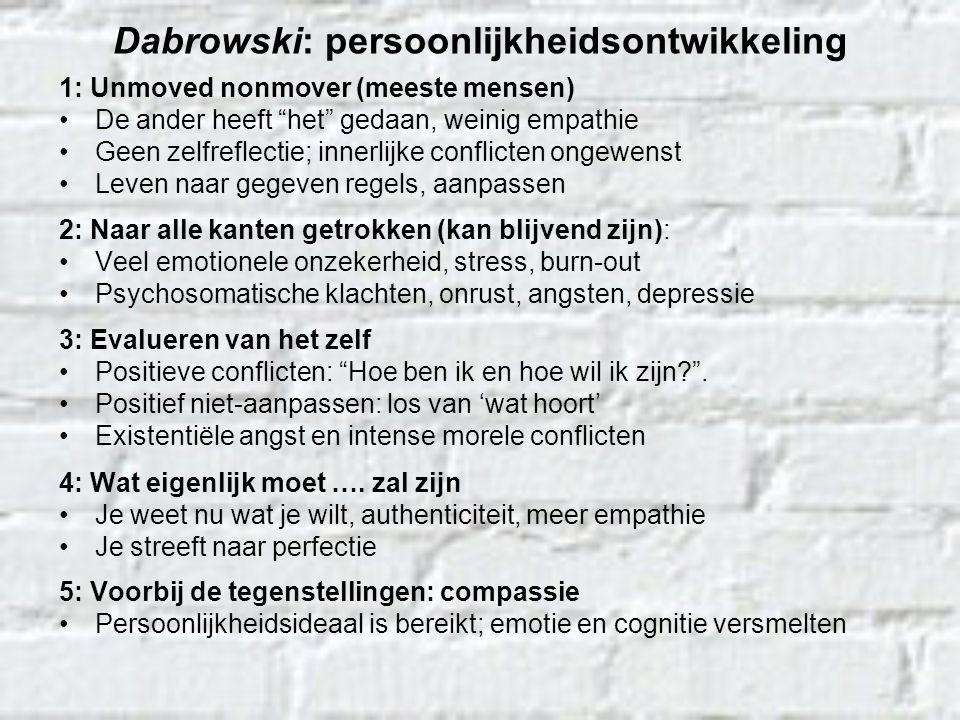 """Dabrowski: persoonlijkheidsontwikkeling 1: Unmoved nonmover (meeste mensen) De ander heeft """"het"""" gedaan, weinig empathie Geen zelfreflectie; innerlijk"""