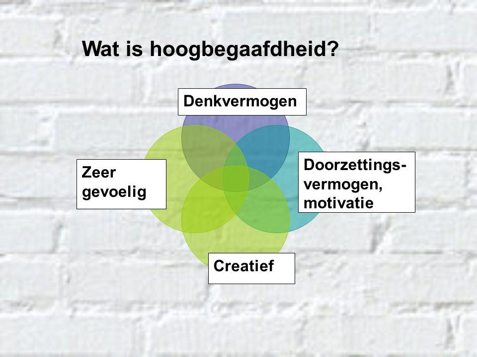 Denkvermogen Creatief Doorzettings- vermogen, motivatie Zeer gevoelig Wat is hoogbegaafdheid?
