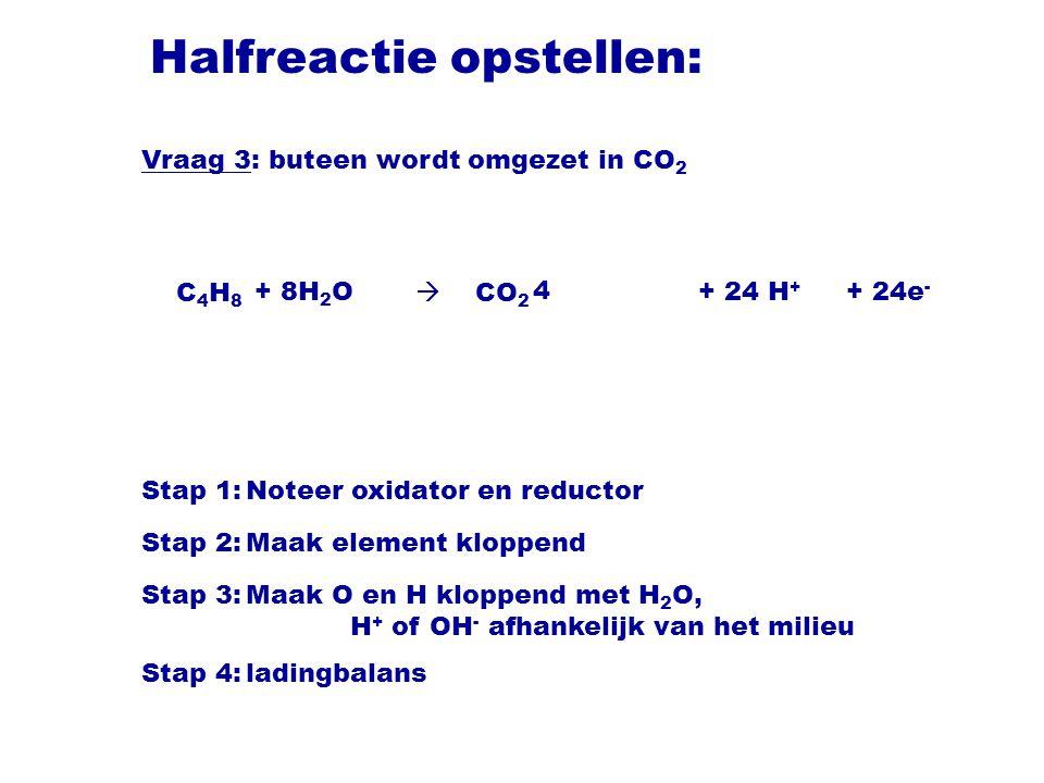 Halfreactie opstellen: C 4 H 8  CO 2 Stap 1:Noteer oxidator en reductor Stap 2:Maak element kloppend Stap 3:Maak O en H kloppend met H 2 O, H + of OH