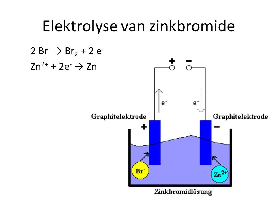 Elektrolyse van zinkbromide 2 Br - → Br 2 + 2 e - Zn 2+ + 2e - → Zn