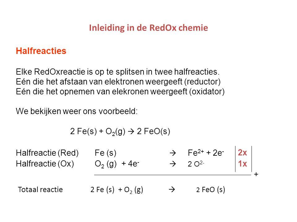 Inleiding in de RedOx chemie Halfreacties Elke RedOxreactie is op te splitsen in twee halfreacties. Eén die het afstaan van elektronen weergeeft (redu