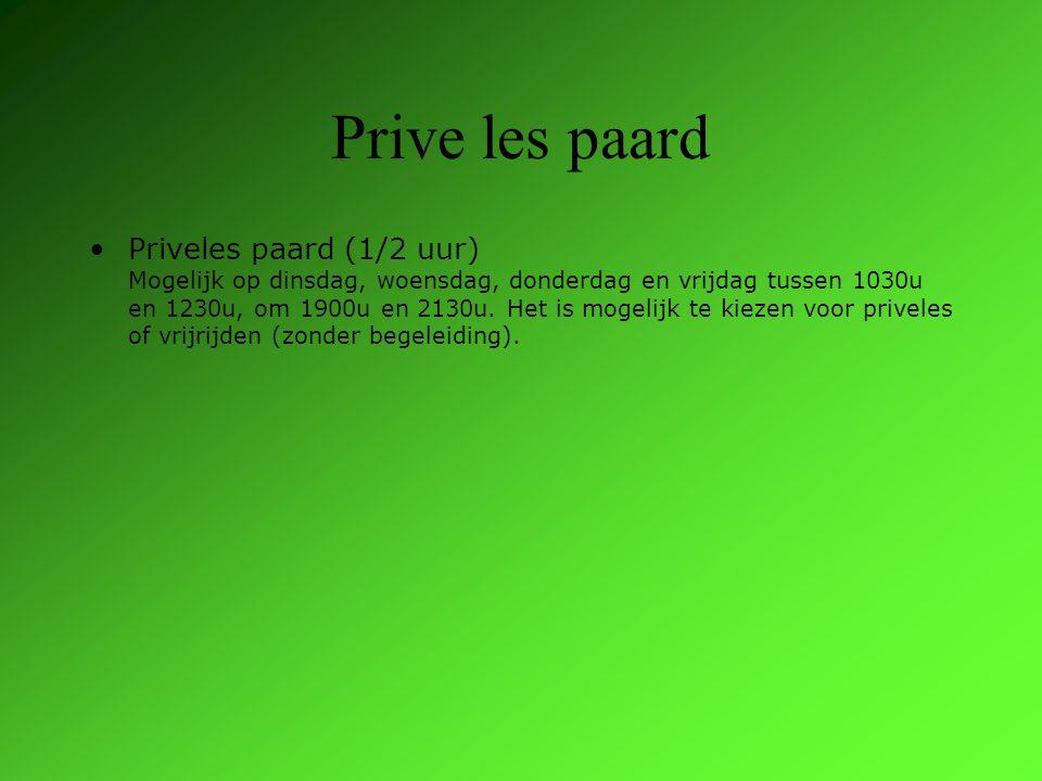 Prive les paard Priveles paard (1/2 uur) Mogelijk op dinsdag, woensdag, donderdag en vrijdag tussen 1030u en 1230u, om 1900u en 2130u.