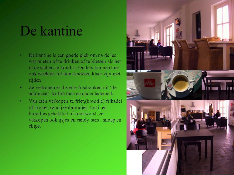 De kantine De kantine is een goede plek om na de les wat te eten of te drinken of te kletsen als het in de stallen te koud is.