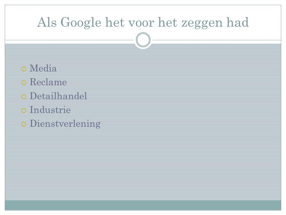 Als Google het voor het zeggen had  Media  Reclame  Detailhandel  Industrie  Dienstverlening
