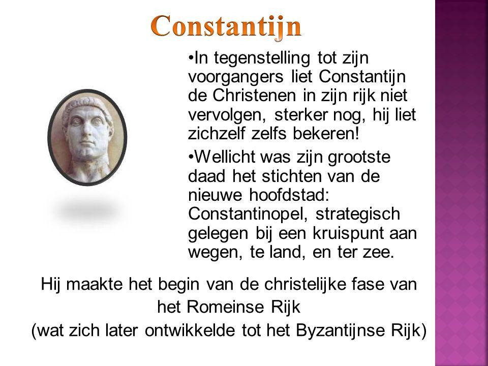 In tegenstelling tot zijn voorgangers liet Constantijn de Christenen in zijn rijk niet vervolgen, sterker nog, hij liet zichzelf zelfs bekeren.