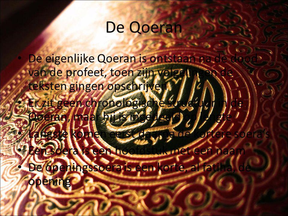 De Qoeran Al-Fatiha De boodschap van de Qoeran is samen te vatten in een aantal kernwoorden Monotheïsme, profeetschap, eschatologie/eindtijd en beloning en bestraffing De Qoeran bied geen oplossingen, daarvoor is er een ander geschrift, de Hadith, de overlevering