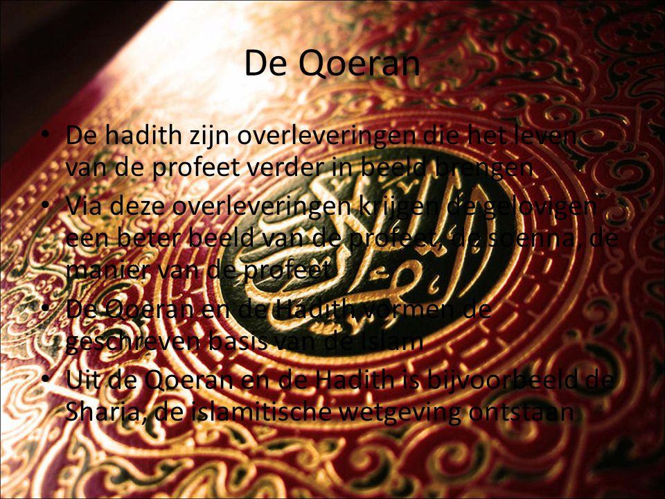 De Qoeran De Hadith staat overigens niet op het zelfde niveau als de Qoeran De Qoeran is onaantastbaar, terwijl je mag twijfelen over de Hadith en zijn betrouwbaarheid De Qoeran en de andere boeken van de monotheïstische religies komen op veel vlakken overeen