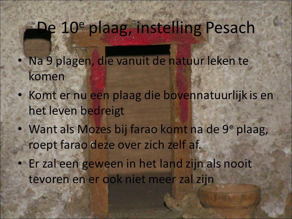 De 10 e plaag, instelling Pesach Na 9 plagen, die vanuit de natuur leken te komen Komt er nu een plaag die bovennatuurlijk is en het leven bedreigt Want als Mozes bij farao komt na de 9 e plaag, roept farao deze over zich zelf af.