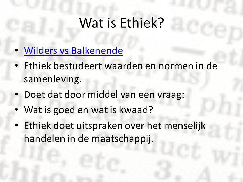 Wat is Ethiek? Wilders vs Balkenende Ethiek bestudeert waarden en normen in de samenleving. Doet dat door middel van een vraag: Wat is goed en wat is