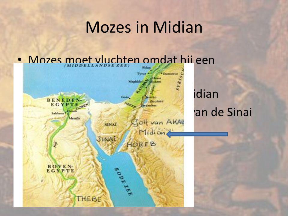 Mozes moet vluchten omdat hij een Egyptenaar heeft doodgeslagen Hij vlucht de woestijn in naar Midian Midian ligt aan de andere kant van de Sinai woestijn