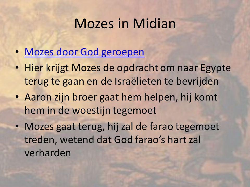 Mozes in Midian Mozes door God geroepen Hier krijgt Mozes de opdracht om naar Egypte terug te gaan en de Israëlieten te bevrijden Aaron zijn broer gaat hem helpen, hij komt hem in de woestijn tegemoet Mozes gaat terug, hij zal de farao tegemoet treden, wetend dat God farao's hart zal verharden