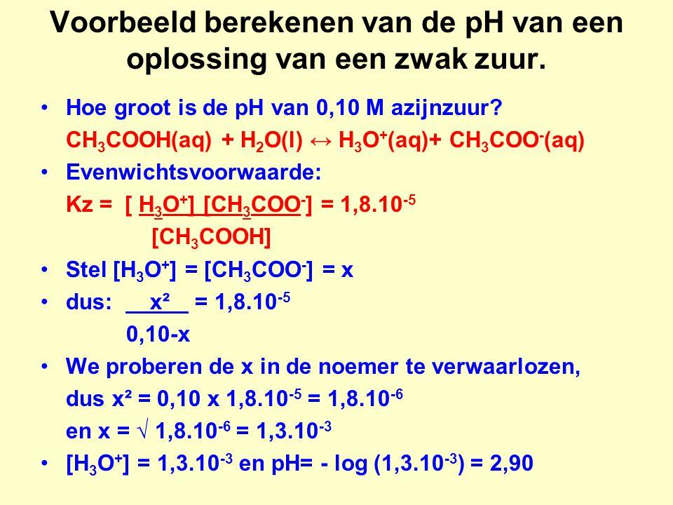 Voorbeeld berekenen van de pH van een oplossing van een zwak zuur. Hoe groot is de pH van 0,10 M azijnzuur? CH 3 COOH(aq) + H 2 O(l) ↔ H 3 O + (aq)+ C