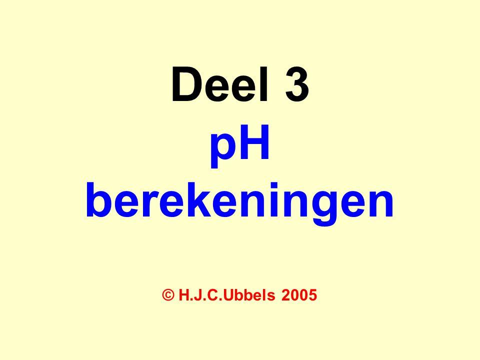 Definitie van de zuurgraad De pH is de zuurgraad en is gedefinieerd als: pH = - log  H 3 0 +  of:  H 3 0 +  = 10 -pH Op overeenkomstige wijze geldt voor pOH: pOH = - log  OH -  of:  OH -  = 10 -pOH .