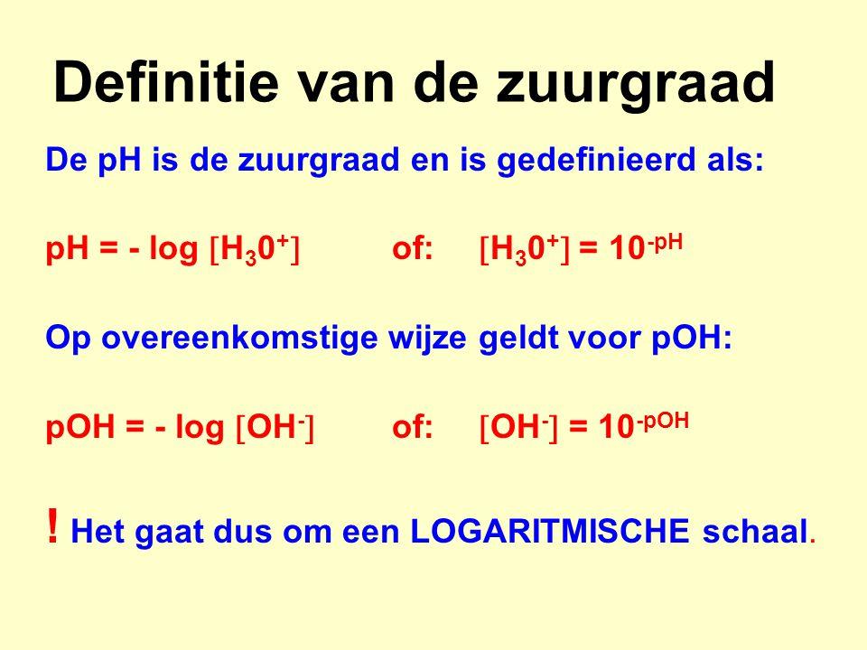 Definitie van de zuurgraad De pH is de zuurgraad en is gedefinieerd als: pH = - log  H 3 0 +  of:  H 3 0 +  = 10 -pH Op overeenkomstige wijze geld