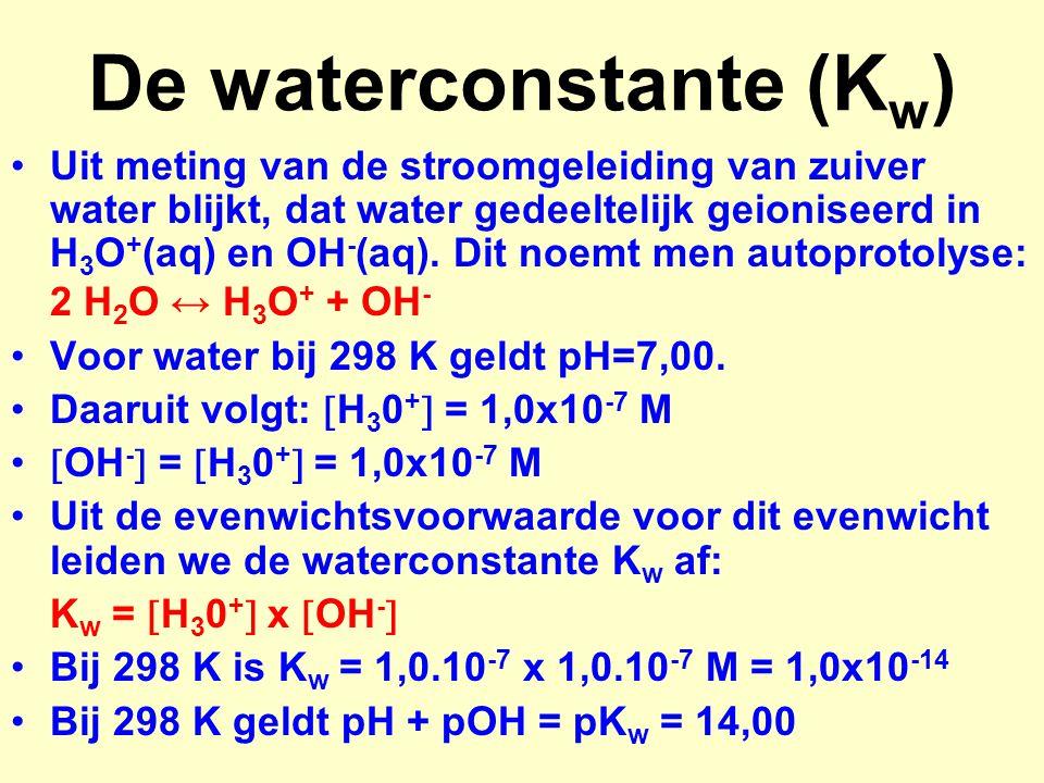 pH van een sterk zuur pH van 0,20 M zoutzuur: pH = - log [H 3 O + ] = - log 0,20 = 0,70 pH van 0,0050 M zwavelzuur pH = - log [H 3 O + ] = - log (2*0,0050) = 2,00 [H 3 O + ] van een oplossing met pH = 4,20 [H 3 O + ] = 10 -pH = 10 -4,20 = 6,3.10 -5
