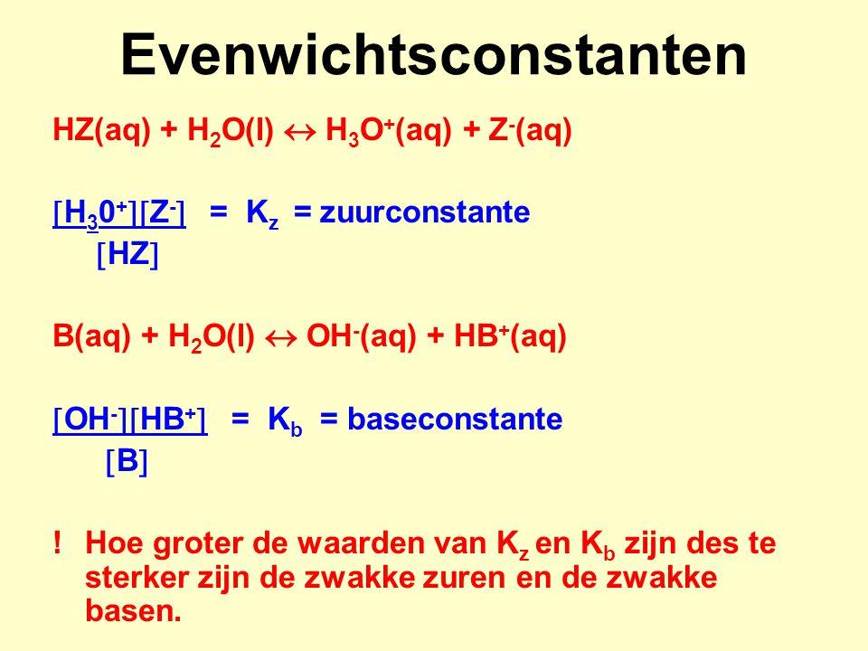Evenwichtsconstanten HZ(aq) + H 2 O(l)  H 3 O + (aq) + Z - (aq)  H 3 0 +  Z -  = K z = zuurconstante  HZ  B(aq) + H 2 O(l)  OH - (aq) + HB + (