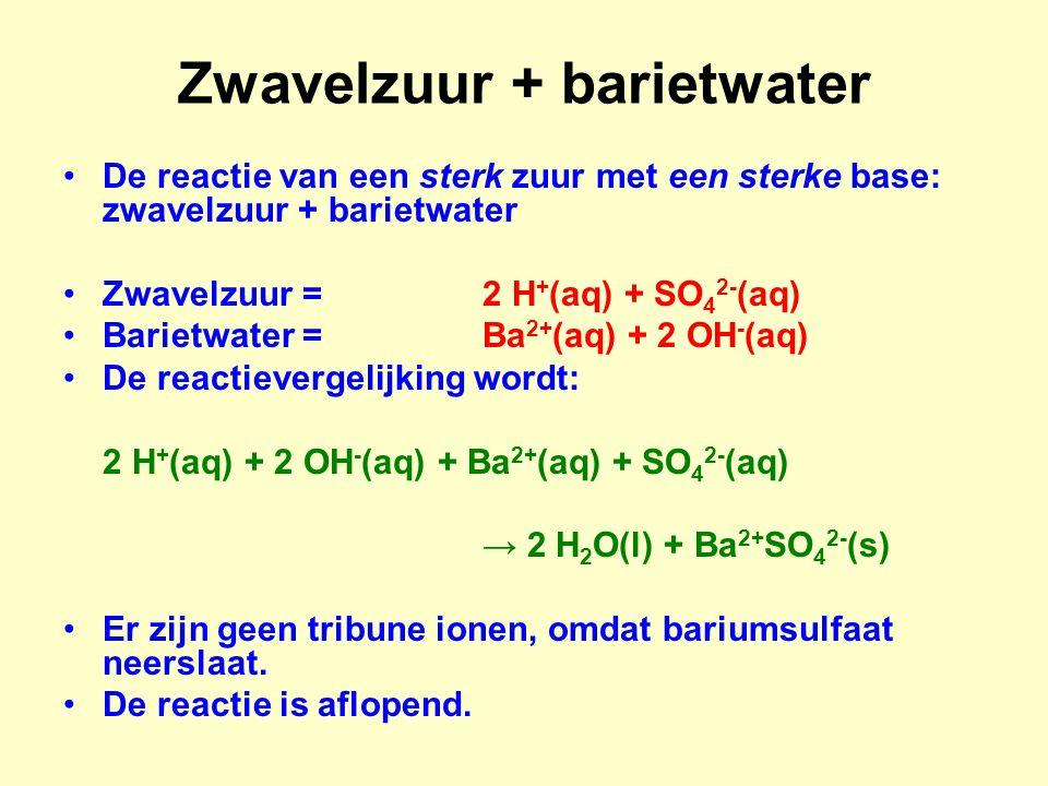 Zwavelzuur + barietwater De reactie van een sterk zuur met een sterke base: zwavelzuur + barietwater Zwavelzuur =2 H + (aq) + SO 4 2- (aq) Barietwater