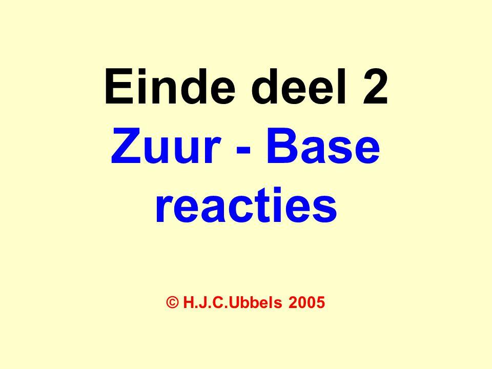 Einde deel 2 Zuur - Base reacties © H.J.C.Ubbels 2005