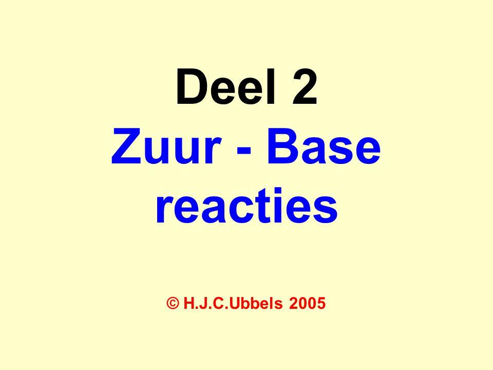 Deel 2 Zuur - Base reacties © H.J.C.Ubbels 2005