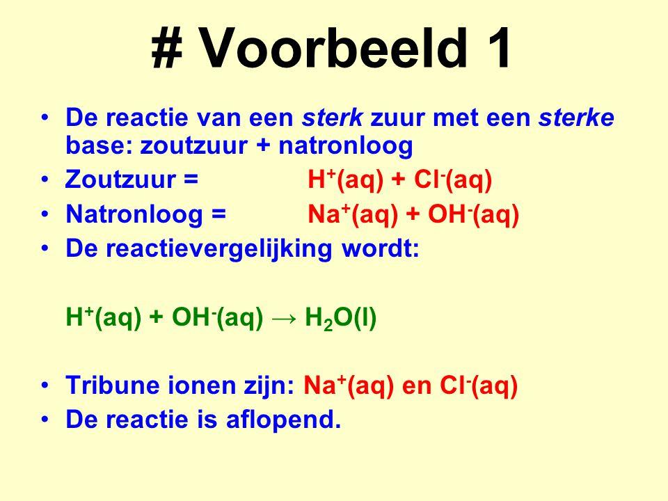 # Voorbeeld 1 De reactie van een sterk zuur met een sterke base: zoutzuur + natronloog Zoutzuur =H + (aq) + Cl - (aq) Natronloog =Na + (aq) + OH - (aq