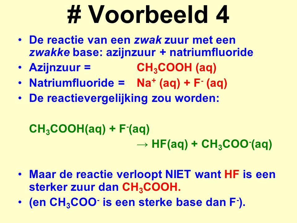 # Voorbeeld 4 De reactie van een zwak zuur met een zwakke base: azijnzuur + natriumfluoride Azijnzuur =CH 3 COOH (aq) Natriumfluoride =Na + (aq) + F -