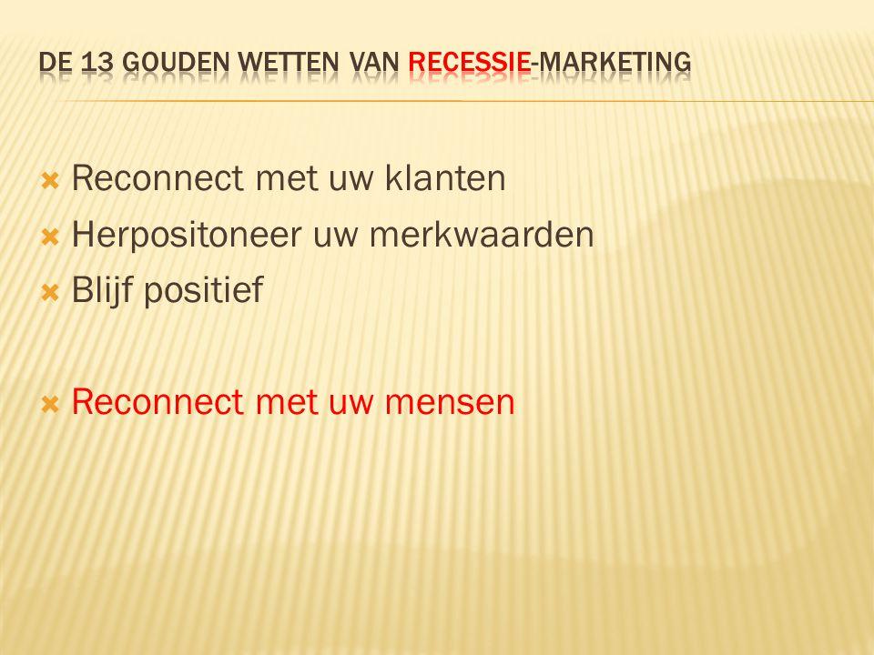  Reconnect met uw klanten  Herpositoneer uw merkwaarden  Blijf positief  Reconnect met uw mensen