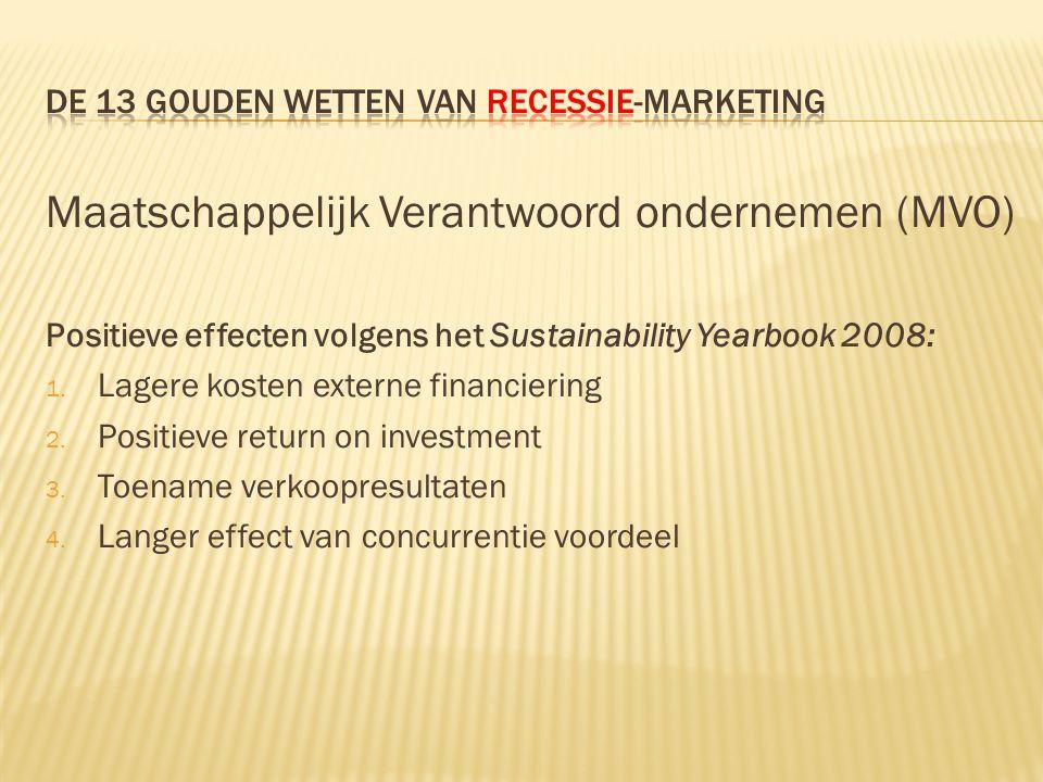 Maatschappelijk Verantwoord ondernemen (MVO) Positieve effecten volgens het Sustainability Yearbook 2008: 1. Lagere kosten externe financiering 2. Pos