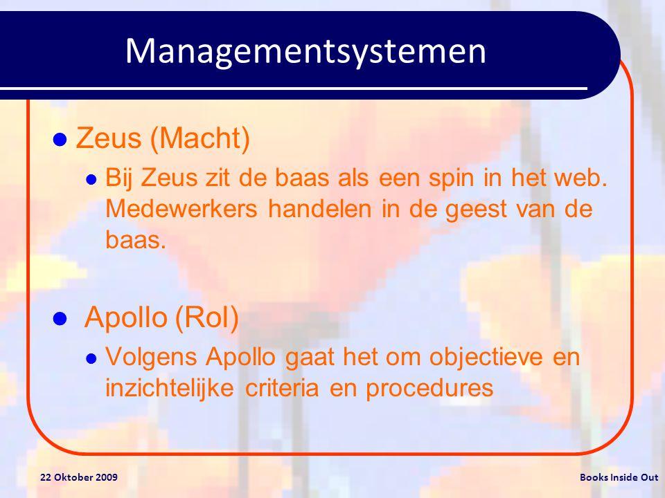 22 Oktober 2009Books Inside Out Managementsystemen Zeus (Macht) Bij Zeus zit de baas als een spin in het web.