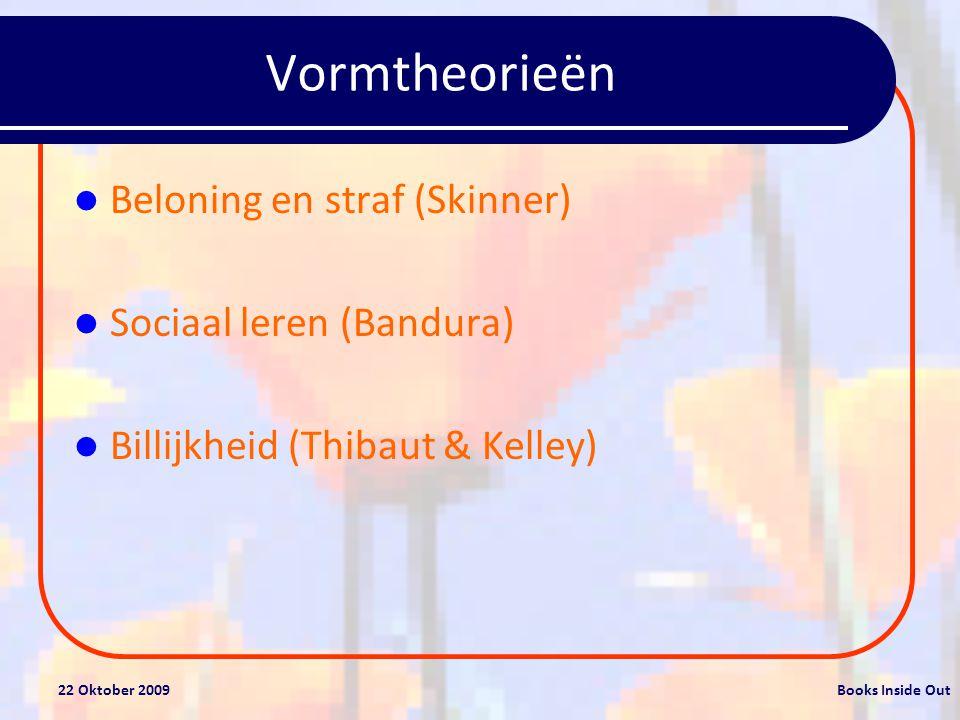 22 Oktober 2009Books Inside Out Vormtheorieën Beloning en straf (Skinner) Sociaal leren (Bandura) Billijkheid (Thibaut & Kelley)