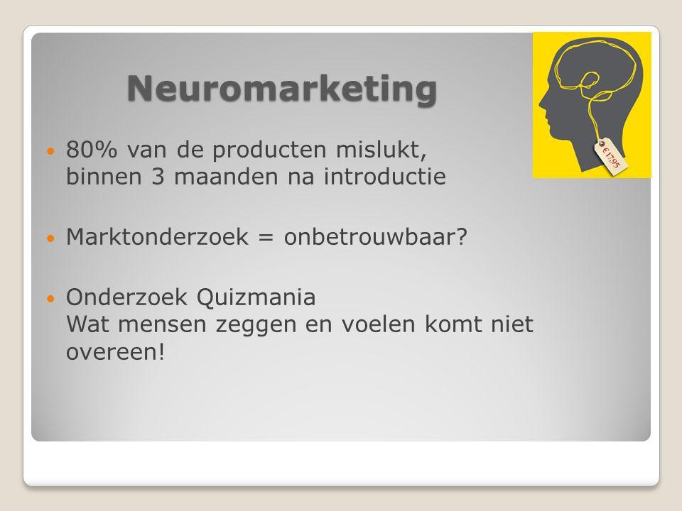 Neuromarketing 80% van de producten mislukt, binnen 3 maanden na introductie Marktonderzoek = onbetrouwbaar.