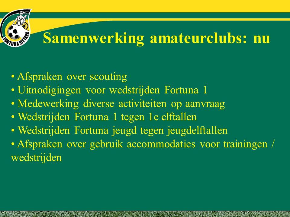 Samenwerking amateurclubs: nu Afspraken over scouting Uitnodigingen voor wedstrijden Fortuna 1 Medewerking diverse activiteiten op aanvraag Wedstrijde
