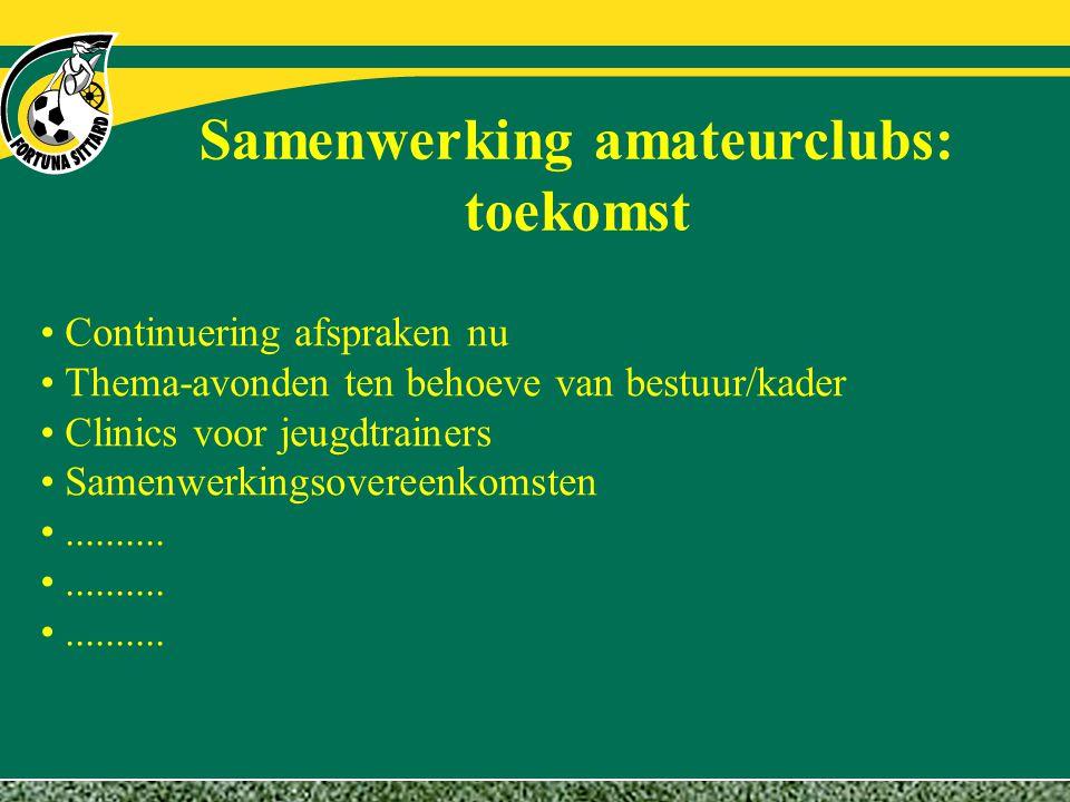 Samenwerking amateurclubs: toekomst Continuering afspraken nu Thema-avonden ten behoeve van bestuur/kader Clinics voor jeugdtrainers Samenwerkingsover