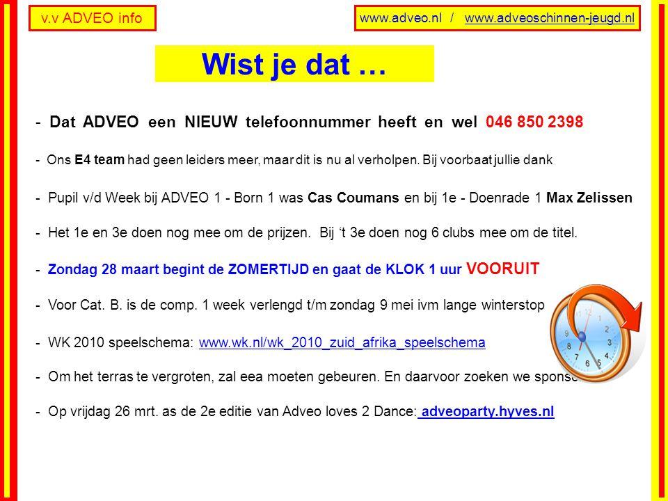 v.v ADVEO info www.adveo.nl / www.adveoschinnen-jeugd.nl - Dat ADVEO een NIEUW telefoonnummer heeft en wel 046 850 2398 - Ons E4 team had geen leiders