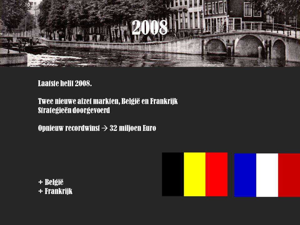 2008 Laatste helft 2008. Twee nieuwe afzet markten, België en Frankrijk Strategieën doorgevoerd Opnieuw recordwinst  32 miljoen Euro + België + Frank