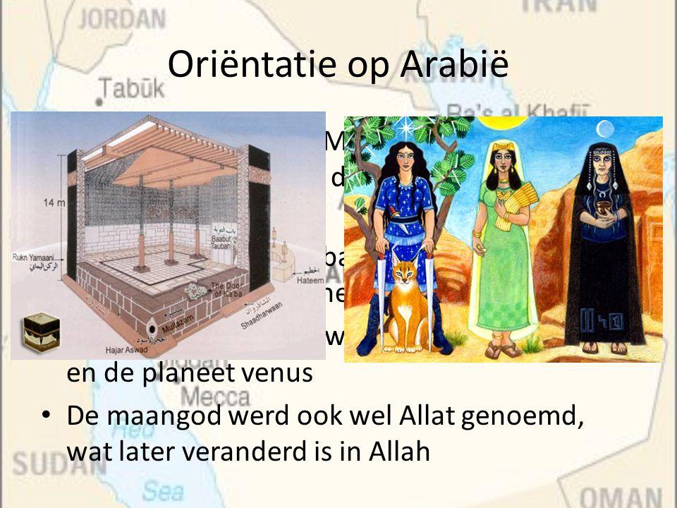 Oriëntatie op Arabië Er was, binnen het Arabische denken, ruimte voor vele goden en geesten, verbonden aan de natuur, ook hier is de strijd tussen goed en kwaad als belangrijkste thema Bijvoorbeeld de zwarte steen in de Kaaba zou door de goden daar geplaatst zijn Deze steen, hadjar ul aswad, is volgens de moslims door Gabriel aan Adam gegeven