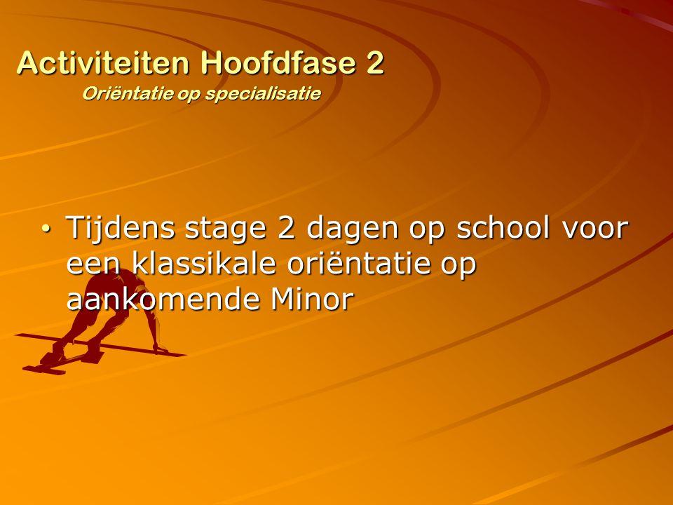 Activiteiten Hoofdfase 2 Oriëntatie op specialisatie Tijdens stage 2 dagen op school voor een klassikale oriëntatie op aankomende Minor Tijdens stage 2 dagen op school voor een klassikale oriëntatie op aankomende Minor