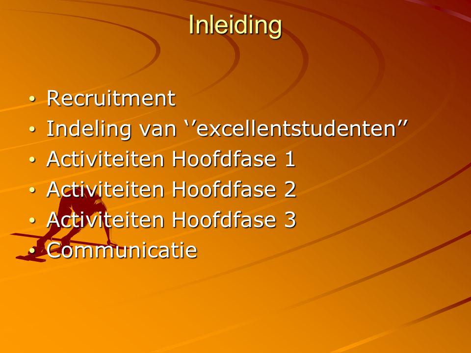 Inleiding Recruitment Recruitment Indeling van ''excellentstudenten'' Indeling van ''excellentstudenten'' Activiteiten Hoofdfase 1 Activiteiten Hoofdfase 1 Activiteiten Hoofdfase 2 Activiteiten Hoofdfase 2 Activiteiten Hoofdfase 3 Activiteiten Hoofdfase 3 Communicatie Communicatie