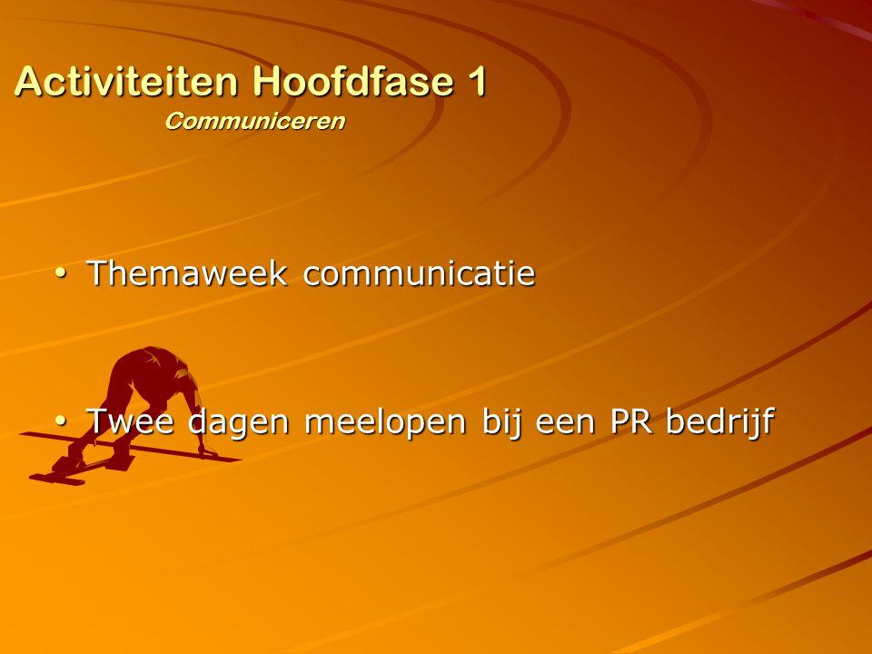 Activiteiten Hoofdfase 1 Communiceren Themaweek communicatie Themaweek communicatie Twee dagen meelopen bij een PR bedrijf Twee dagen meelopen bij een PR bedrijf