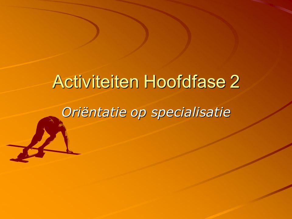 Activiteiten Hoofdfase 2 Oriëntatie op specialisatie