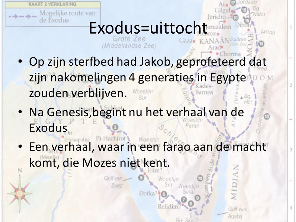 Op zijn sterfbed had Jakob, geprofeteerd dat zijn nakomelingen 4 generaties in Egypte zouden verblijven. Na Genesis,begint nu het verhaal van de Exodu