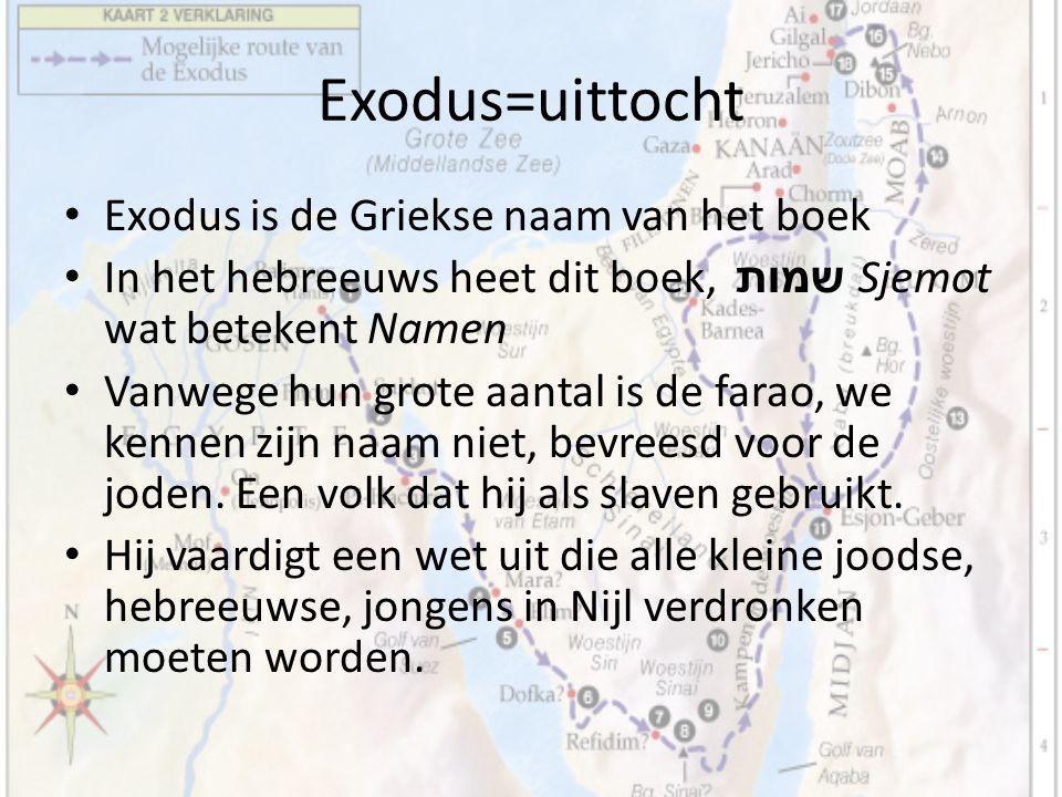 Exodus=uittocht Exodus is de Griekse naam van het boek In het hebreeuws heet dit boek, שמות Sjemot wat betekent Namen Vanwege hun grote aantal is de f