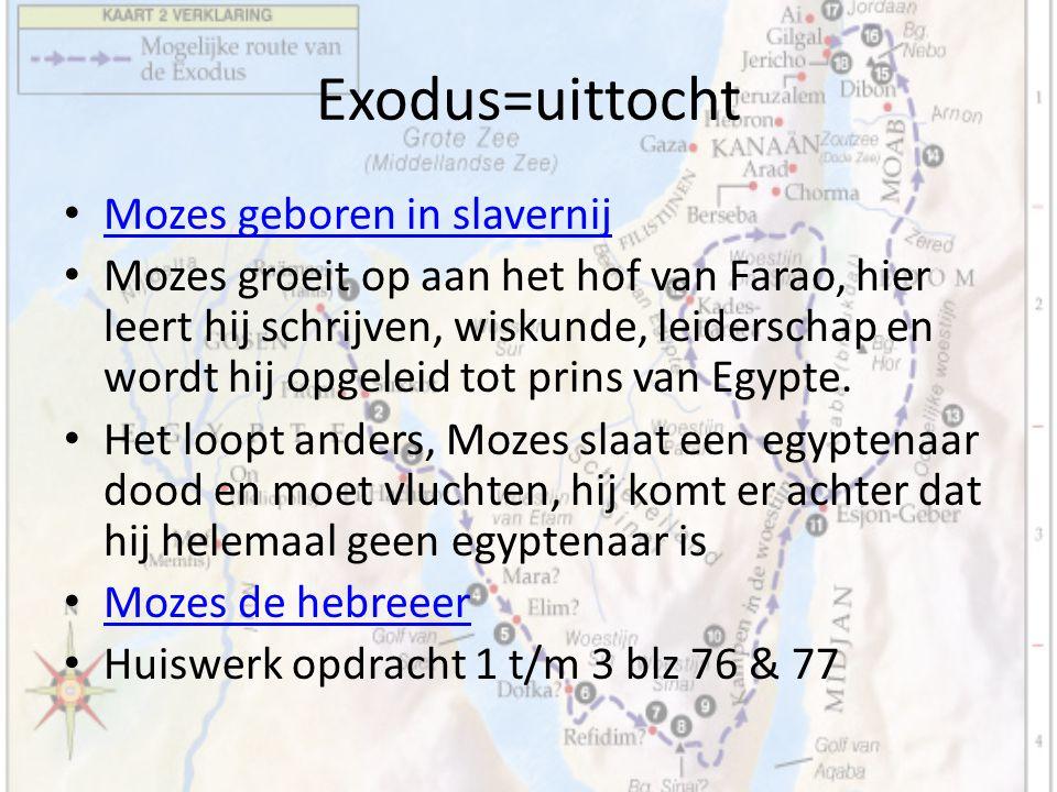 Exodus=uittocht Mozes geboren in slavernij Mozes groeit op aan het hof van Farao, hier leert hij schrijven, wiskunde, leiderschap en wordt hij opgelei