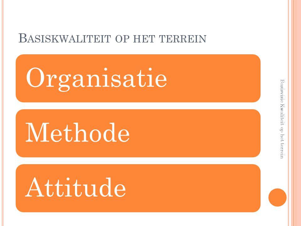 B ASISKWALITEIT OP HET TERREIN OrganisatieMethodeAttitude Basisvisie Kwaliteit op het terrein