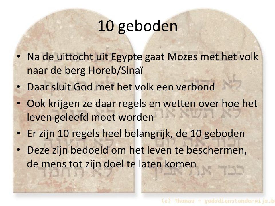 Na de uittocht uit Egypte gaat Mozes met het volk naar de berg Horeb/Sinaï Daar sluit God met het volk een verbond Ook krijgen ze daar regels en wette